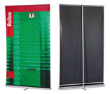 front and back view of roller banner stand